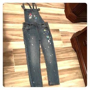 Denim overalls w paint splash design